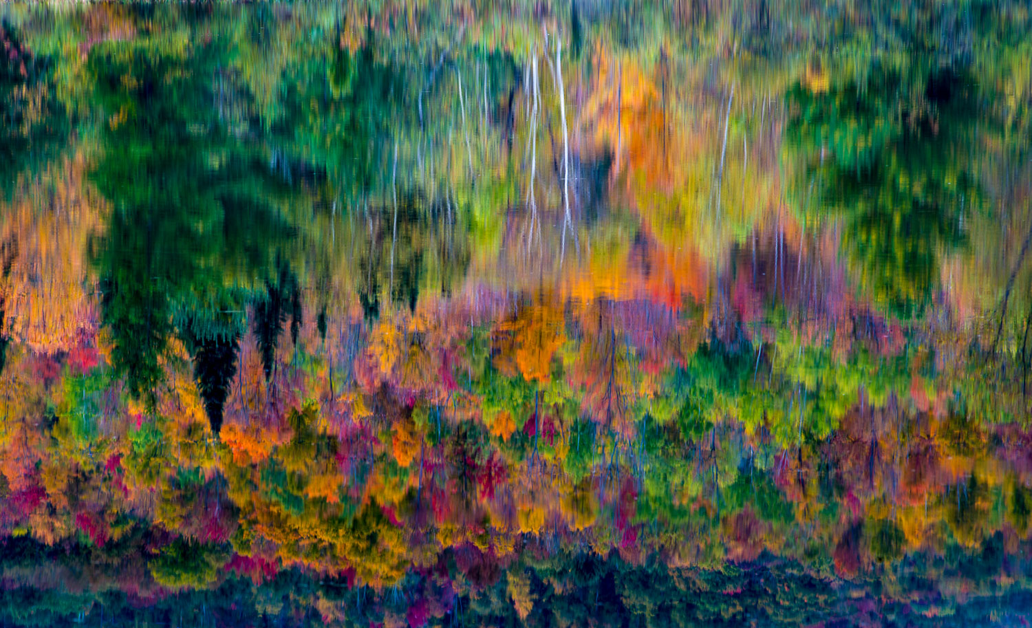 Painterly Abstract Fall Reflection, White Mountains, Franconia,