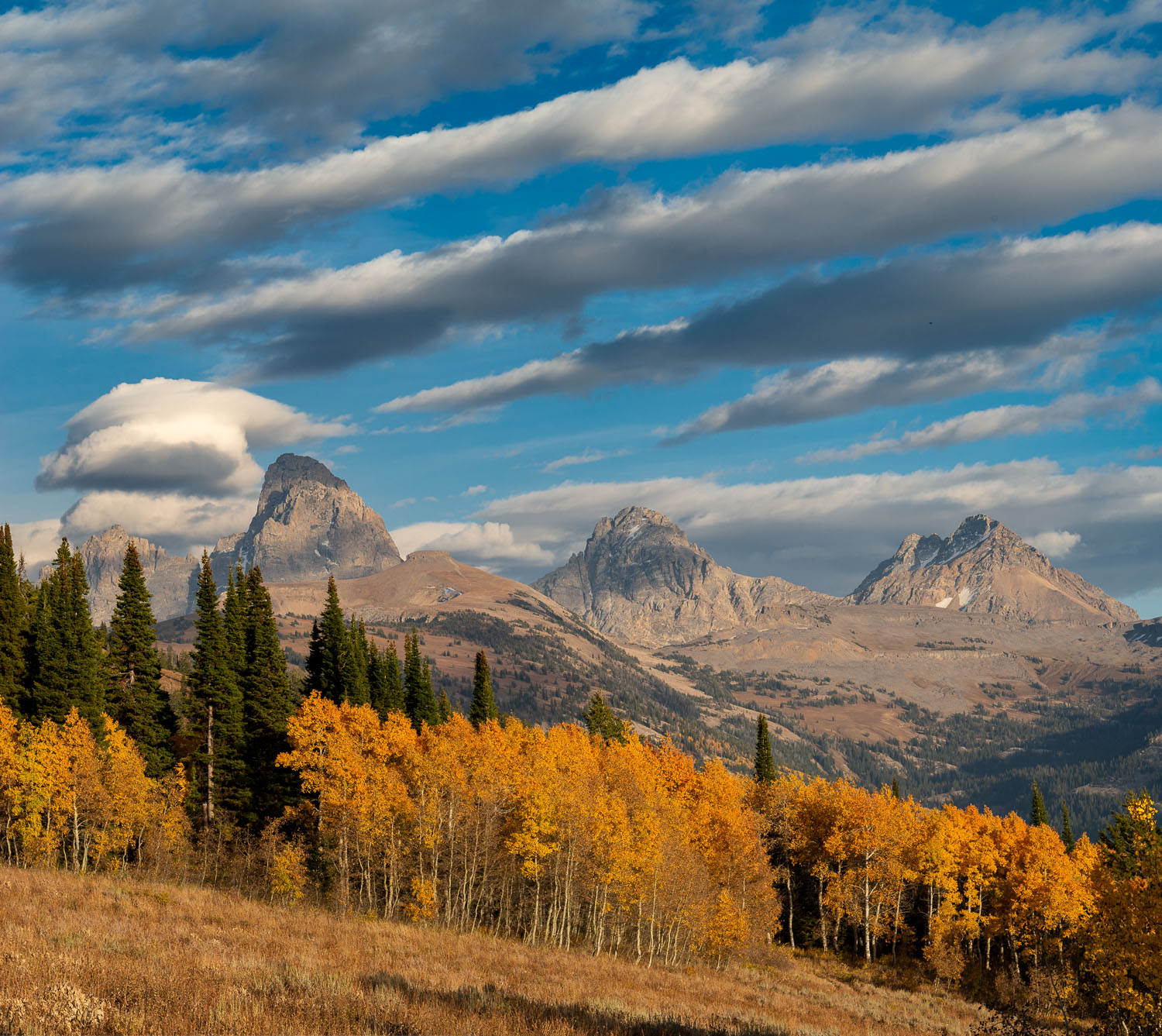 Streaked Clouds and Golden Aspens over the Teton Mountains near
