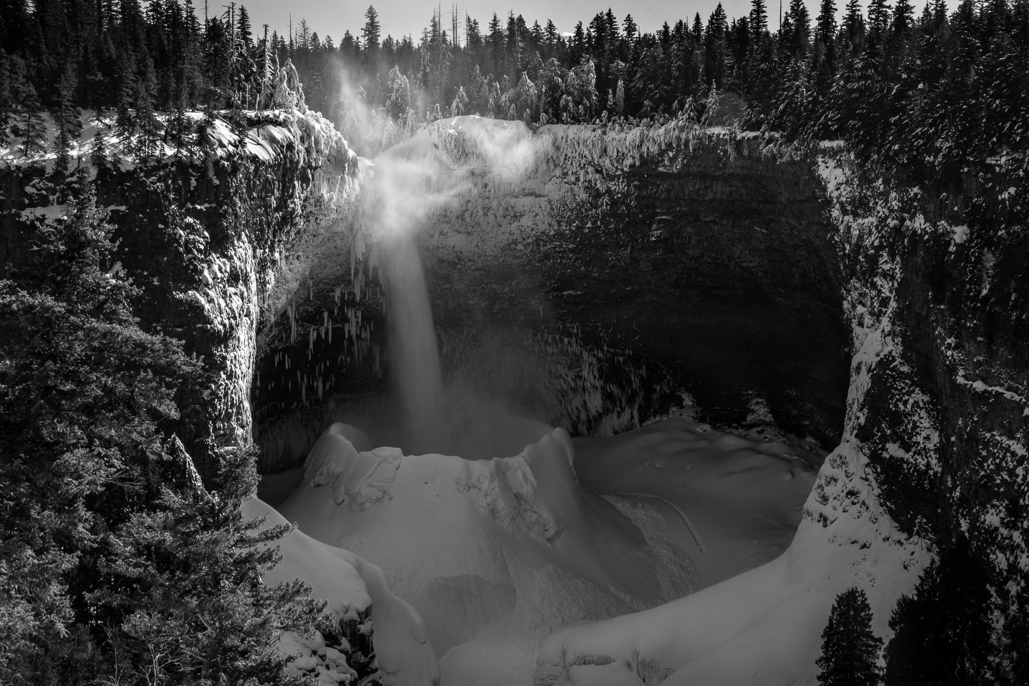 Helmcken Falls in Black and White, Wells Gray Provincial Park, B