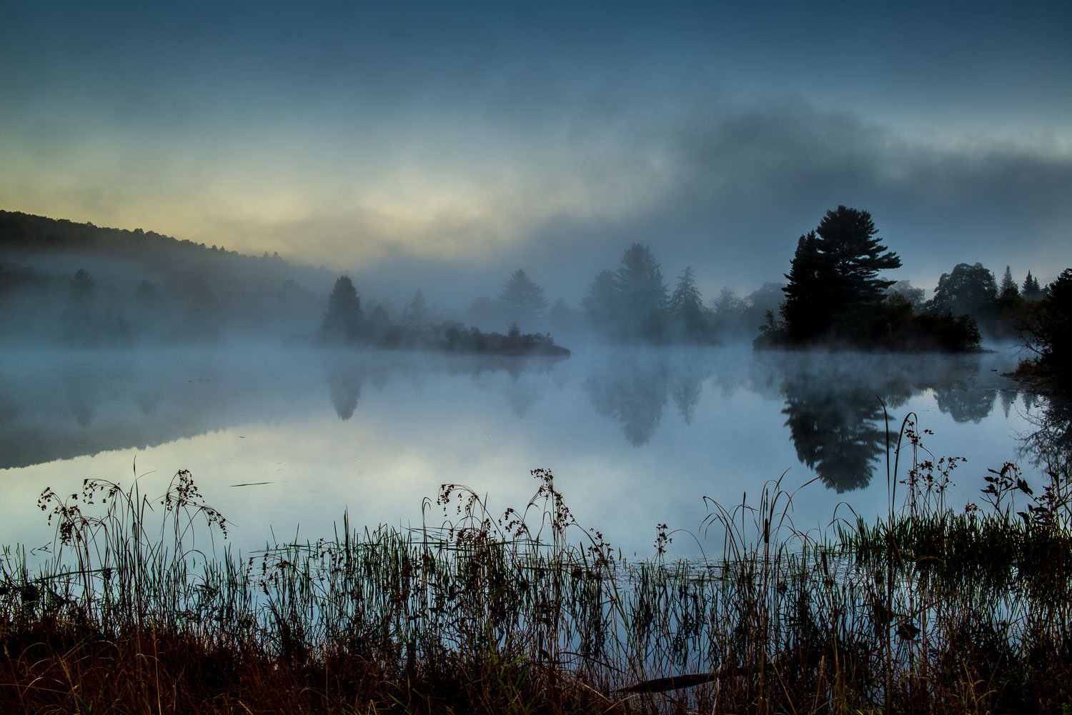 Rising Fog at Streeter Pond, White Mountains, near Sugar Hill an
