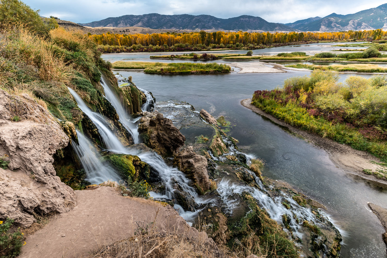 Falls Creek Waterfall and South Fork Snake River near Idaho Fall