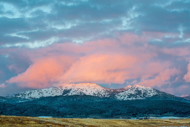 Sunset over Grand Targhee, Teton Mountains near Driggs, Idaho an