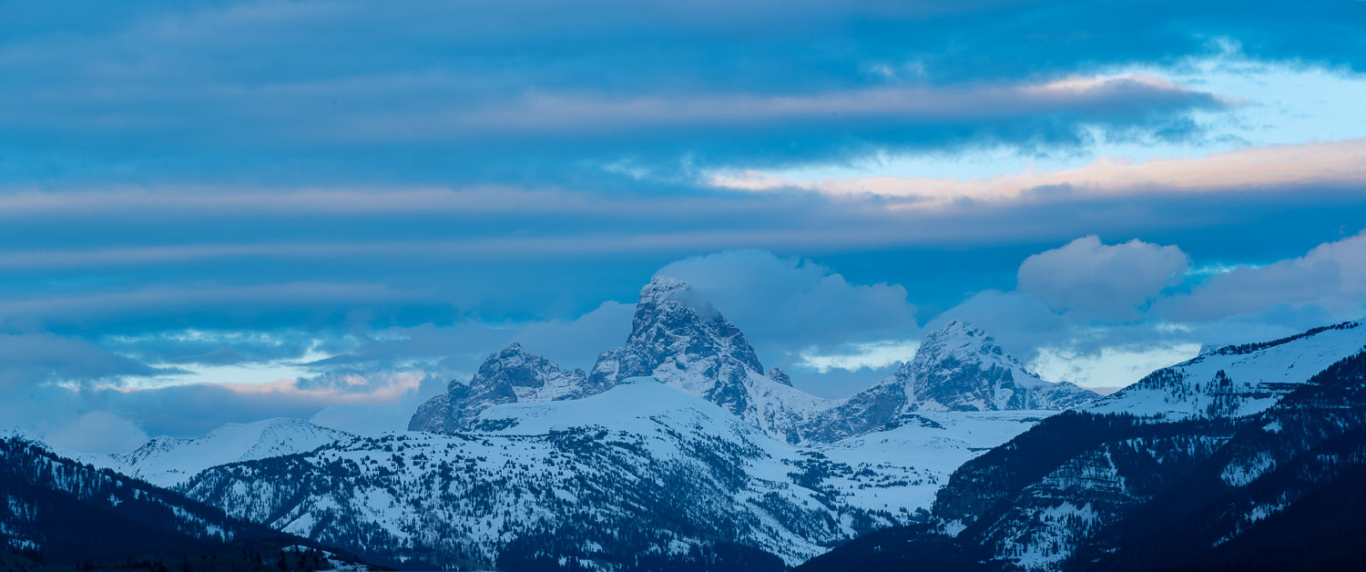 Pink Clouds after Sunset: Grand, Middle, and South Teton from Te