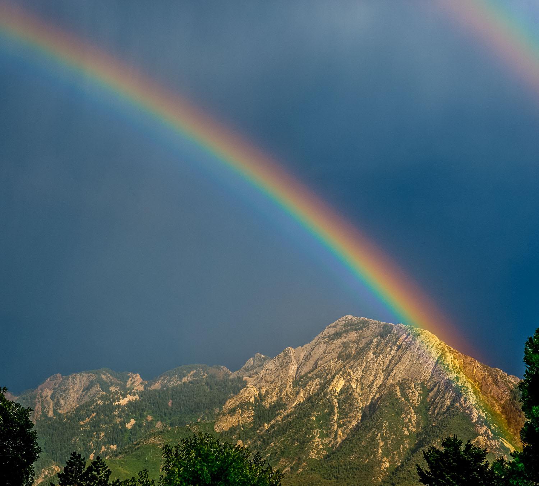 """Olympic Rainbow"": Double Rainbow over Mount Olympus, Wasatch Mo"