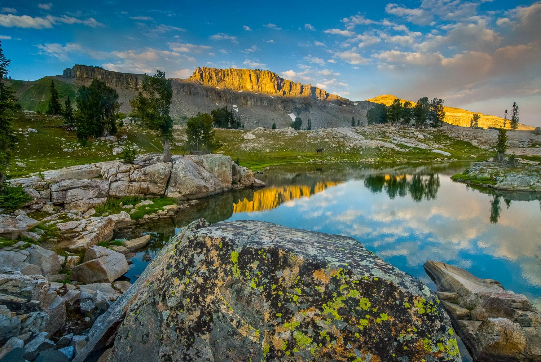Alaska Basin Reflection: Small Lake and Cloud Reflection , Teton