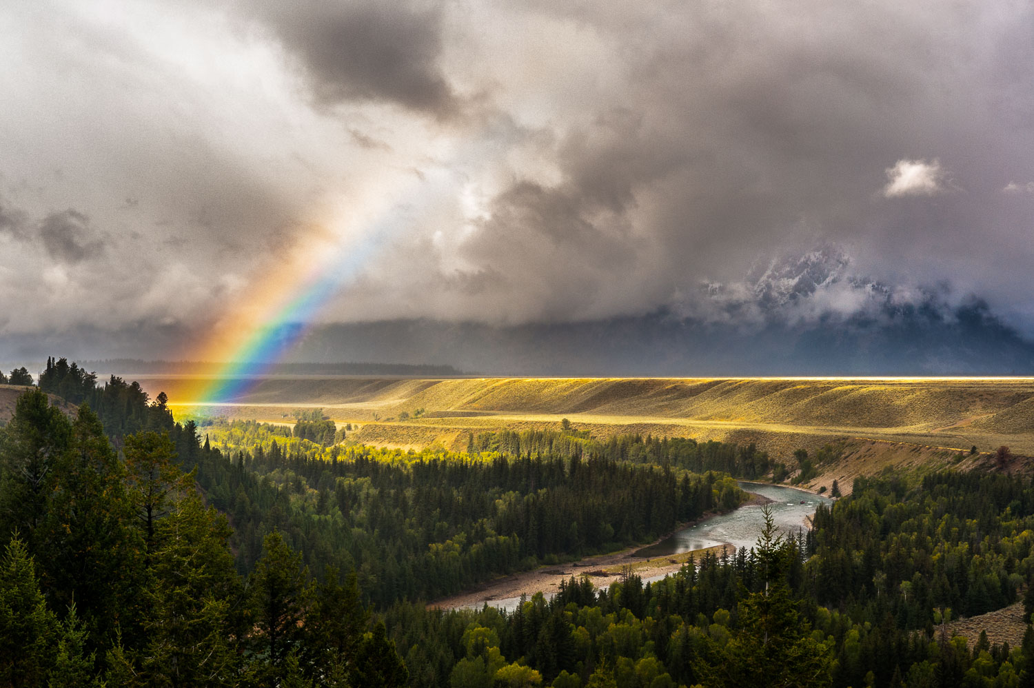 """""""Tetons Rainbow"""":Clearing Storm and Rainbow over Snake River,  G"""