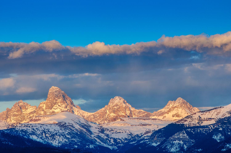 Triple Teton Alpenglow: Grand, Middle and South Teton, Grand Tet