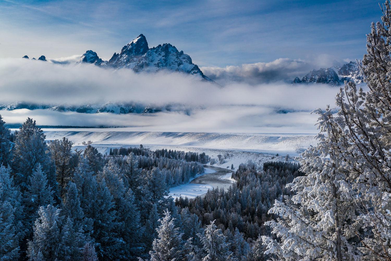 Rime, Layered Fog and the Grand Teton, Teton Mountains and Natio