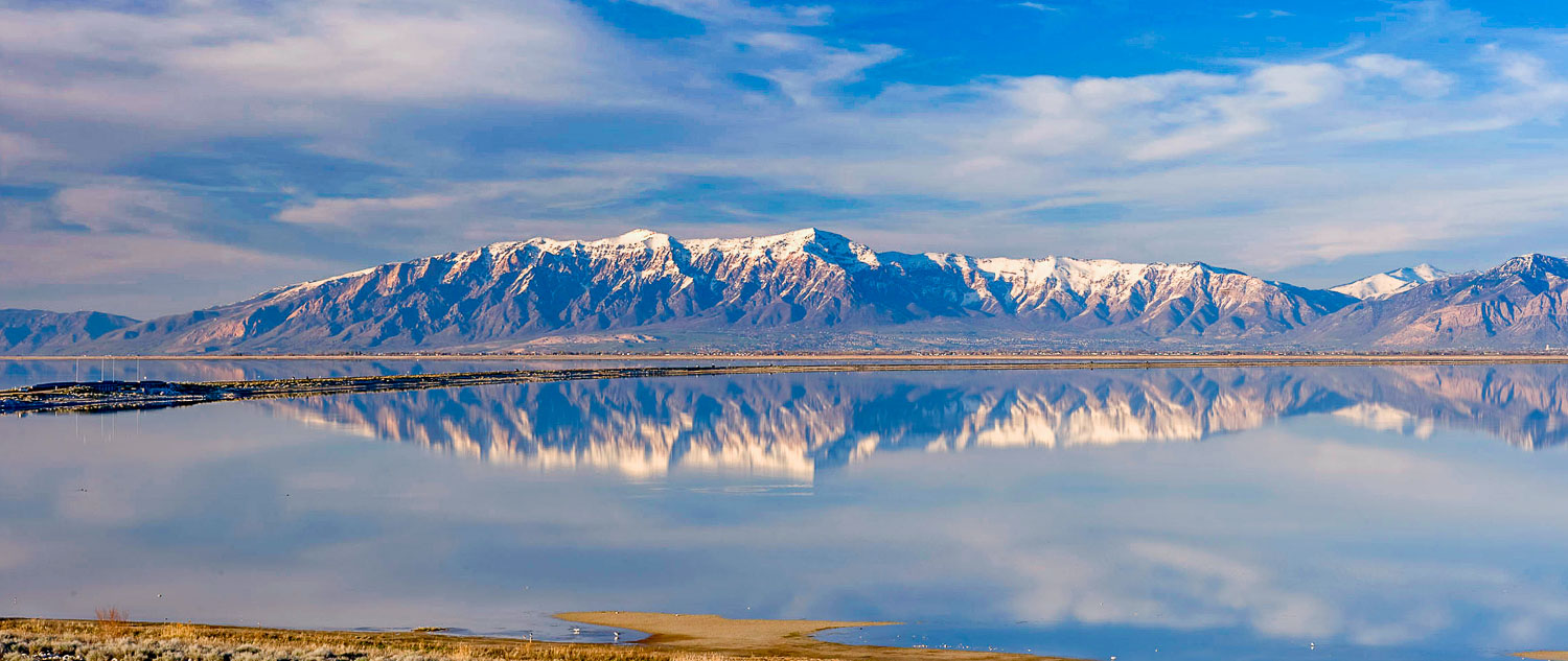 Perfect Northern Wasatch Reflection: Great Salt Lake from Antelo