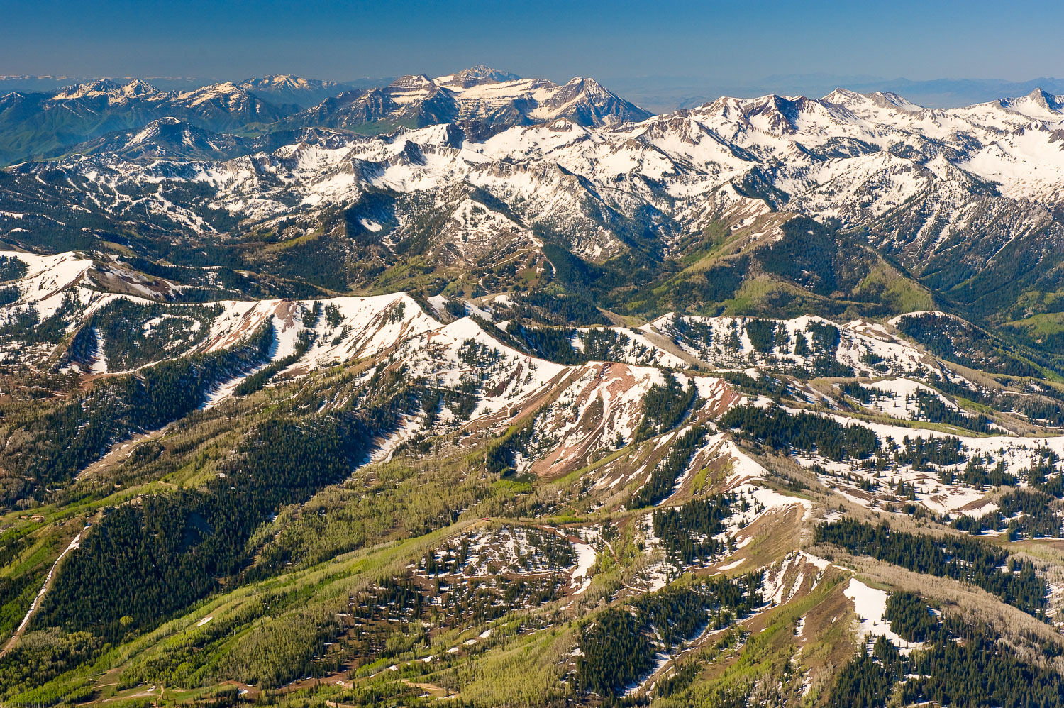 Aerial Photograph showing springtime in mountains. Several wilde