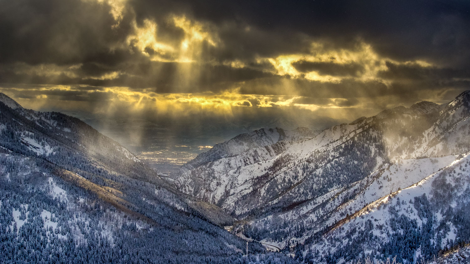 Golden Light Breaking Through Storm Clouds, Big Cottonwood Canyo
