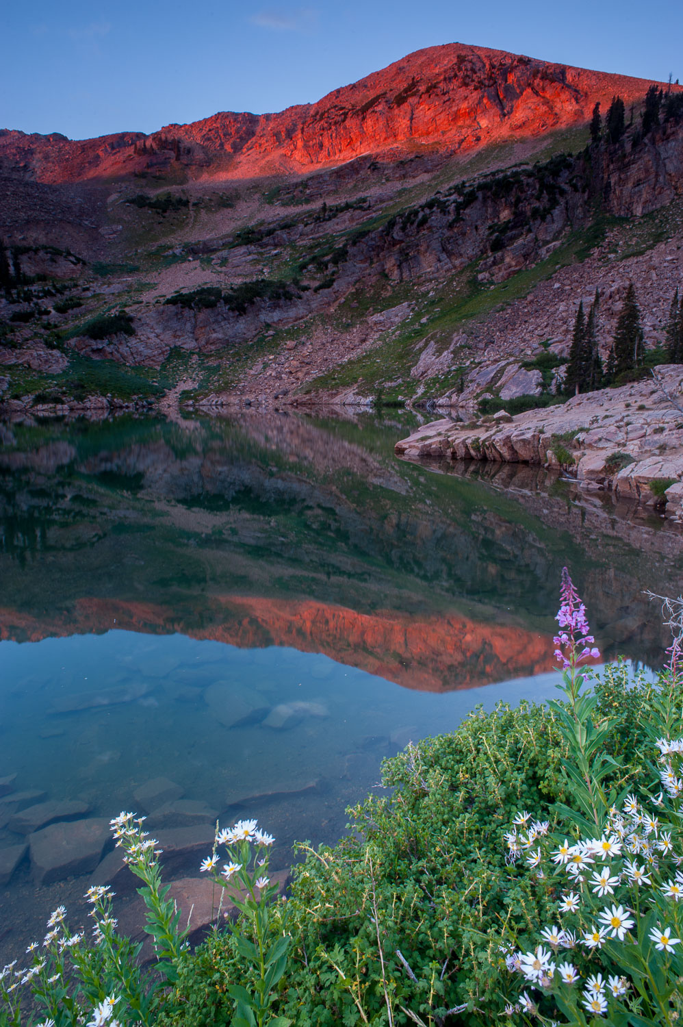Cecret Lake and Sugarloaf Mountain at Sunrise, Wasatch Mountains