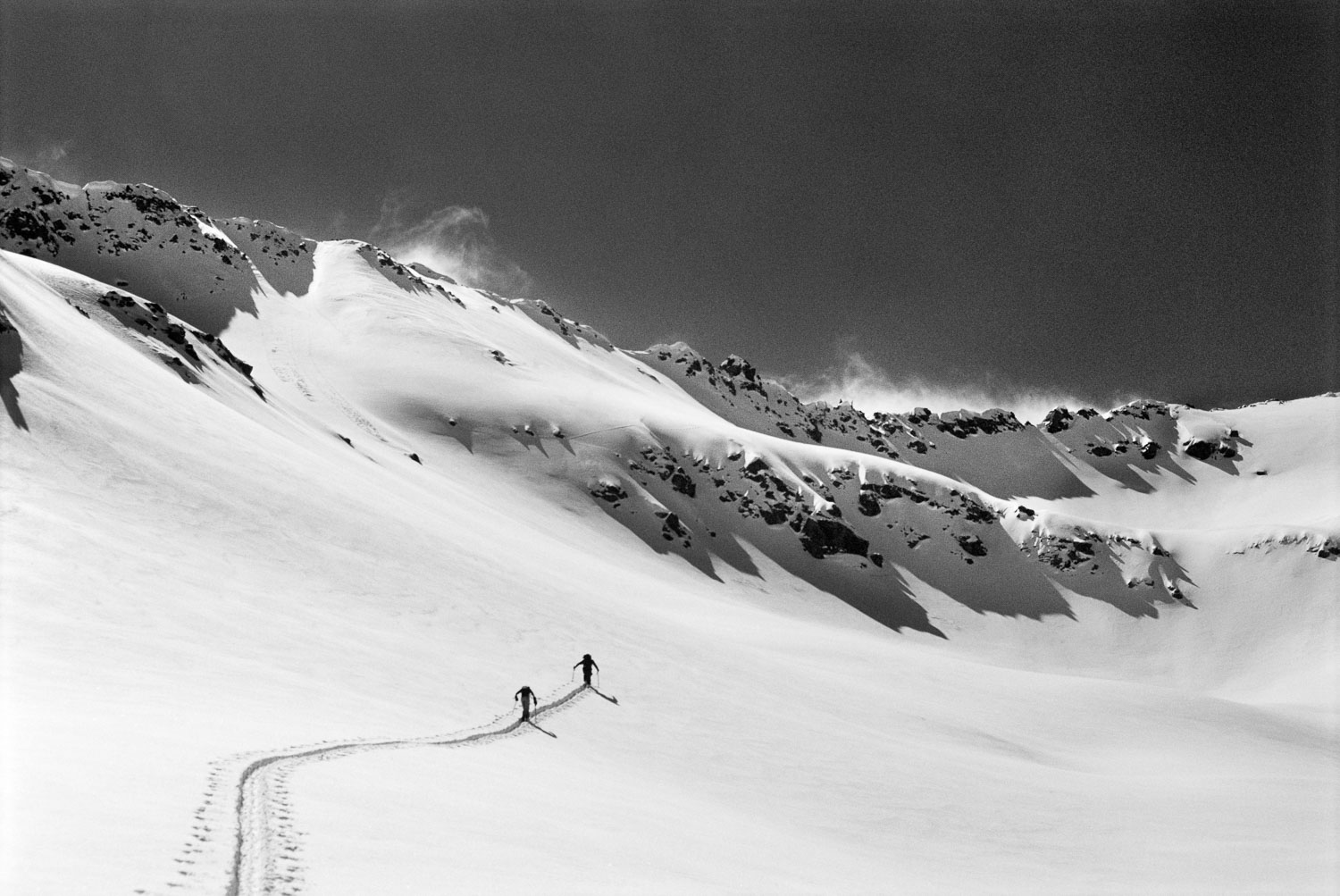 """""""Breaking Trail Duo""""  Black and White B&W Photograph ofTwo Skier"""