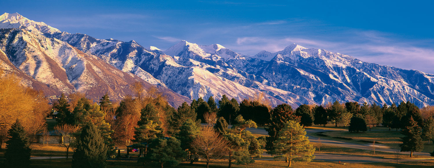 """""""Sugarhouse Vista"""":  Snow-Capped Wasatch Mountains and Sugarhous"""