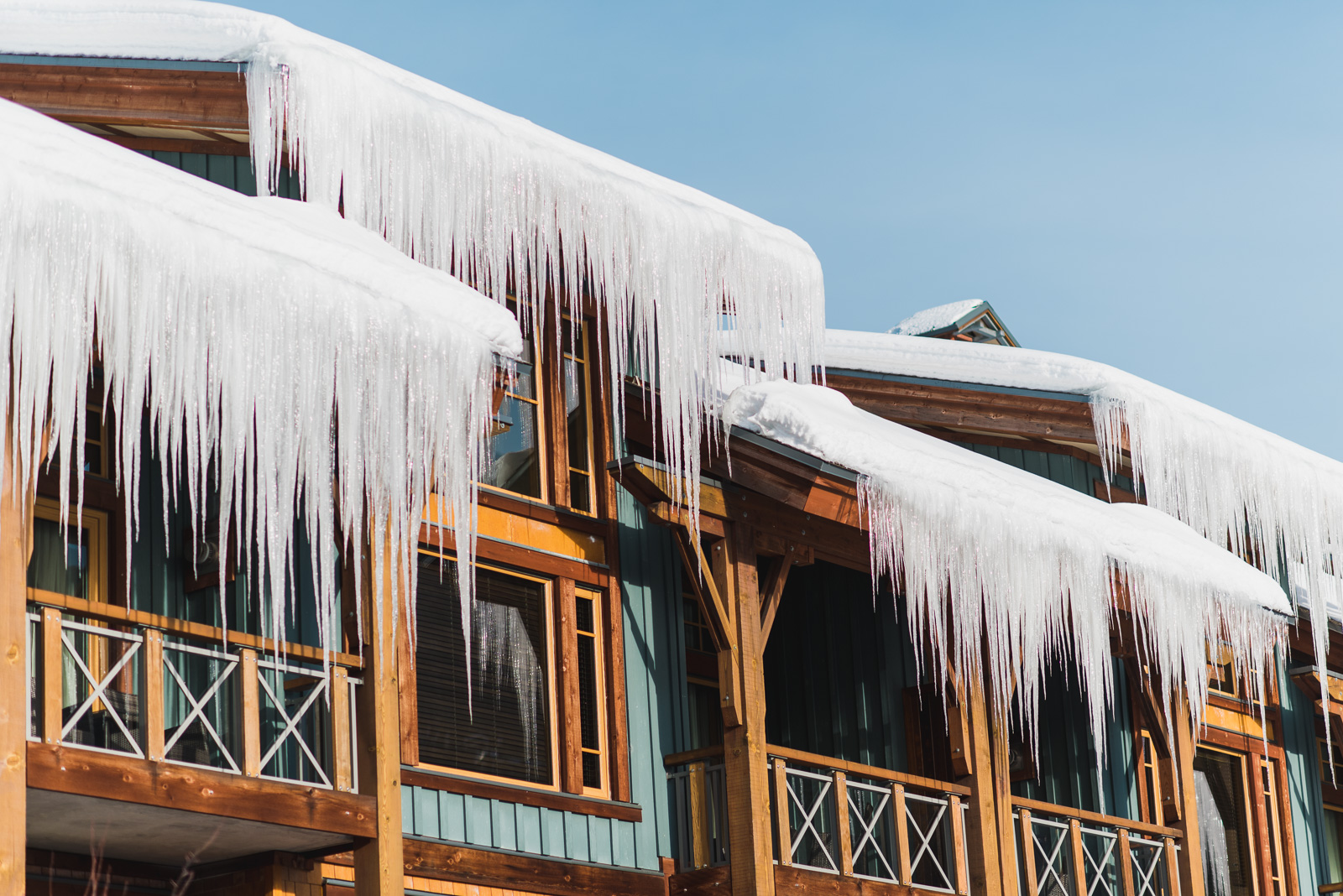 icicles hanging from the roof of nita lake lodge in whistler - victoria wedding photographers