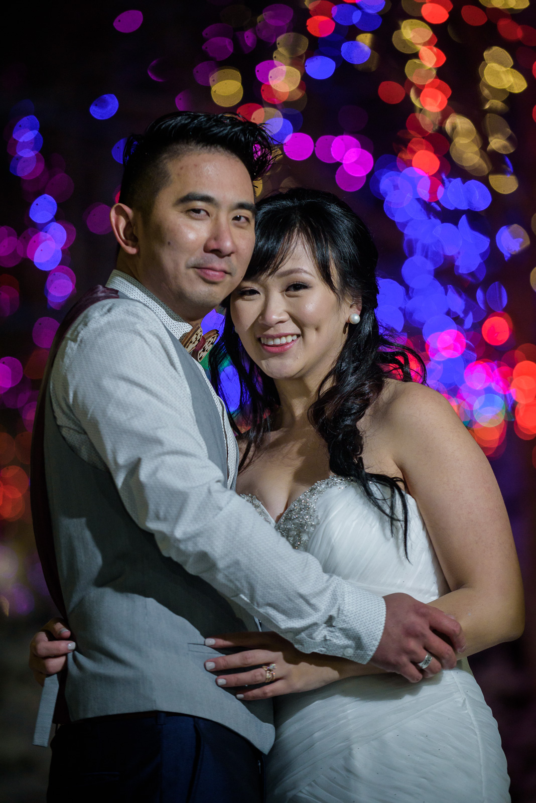 snowy wedding portrait at richmond city hall - victoria wedding photographer