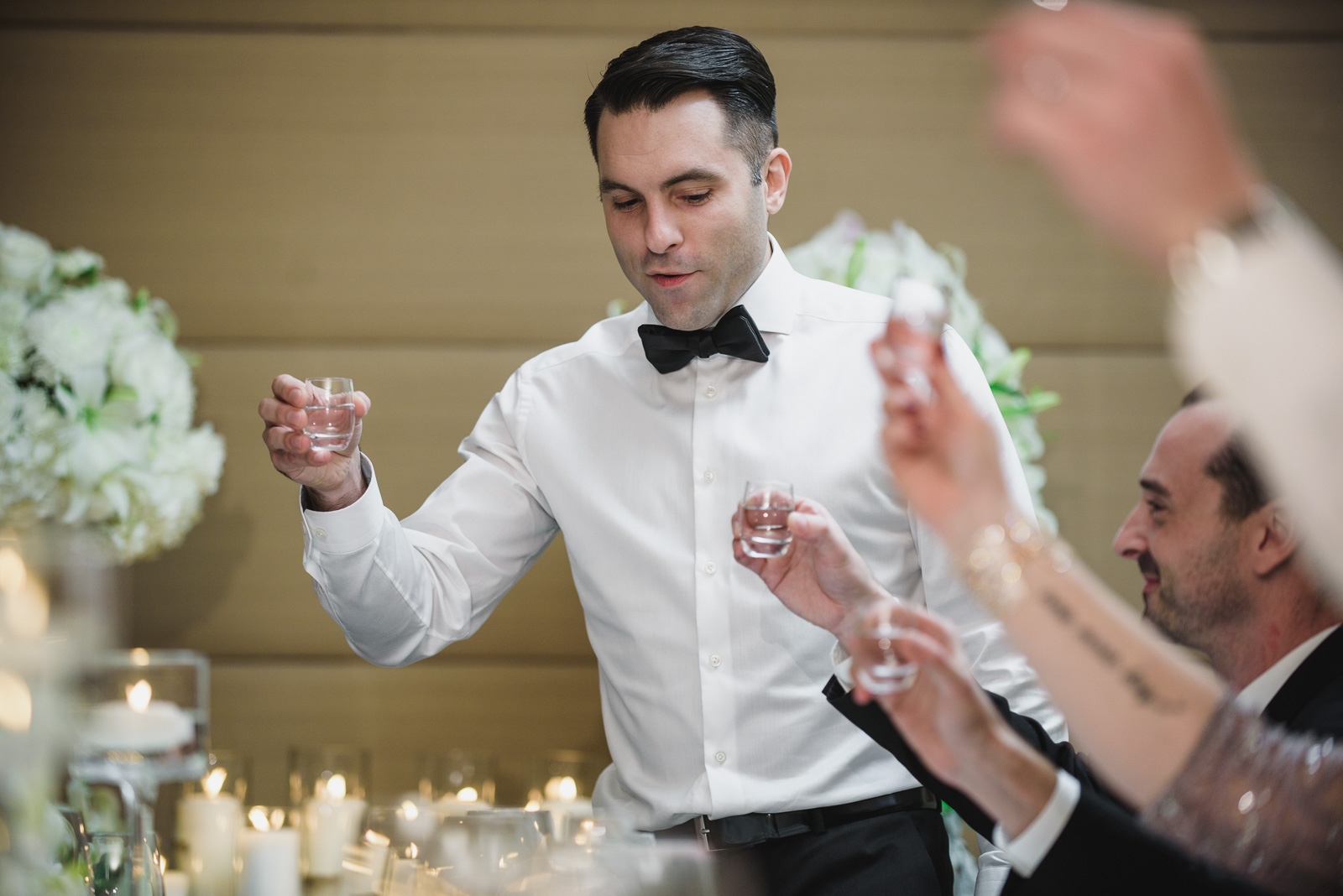 groom gives a toast at the Pear Tree Restaurant in Burnaby BC - Vancouver Island Wedding Photographer