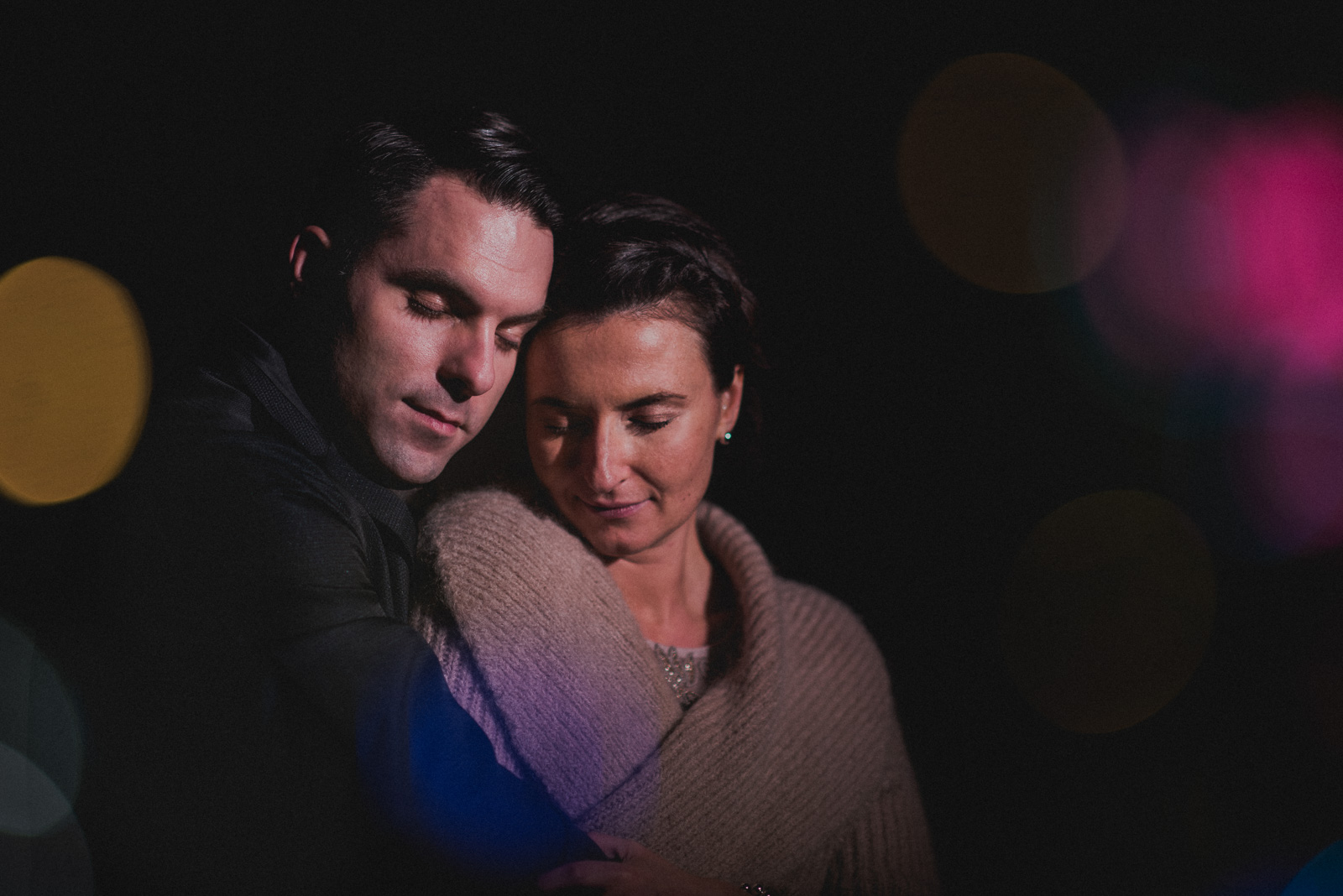 creative lighting portrait of bride and groom outdoors at the Pear Tree Restaurant in Burnaby BC - Vancouver Island Wedding Photographer