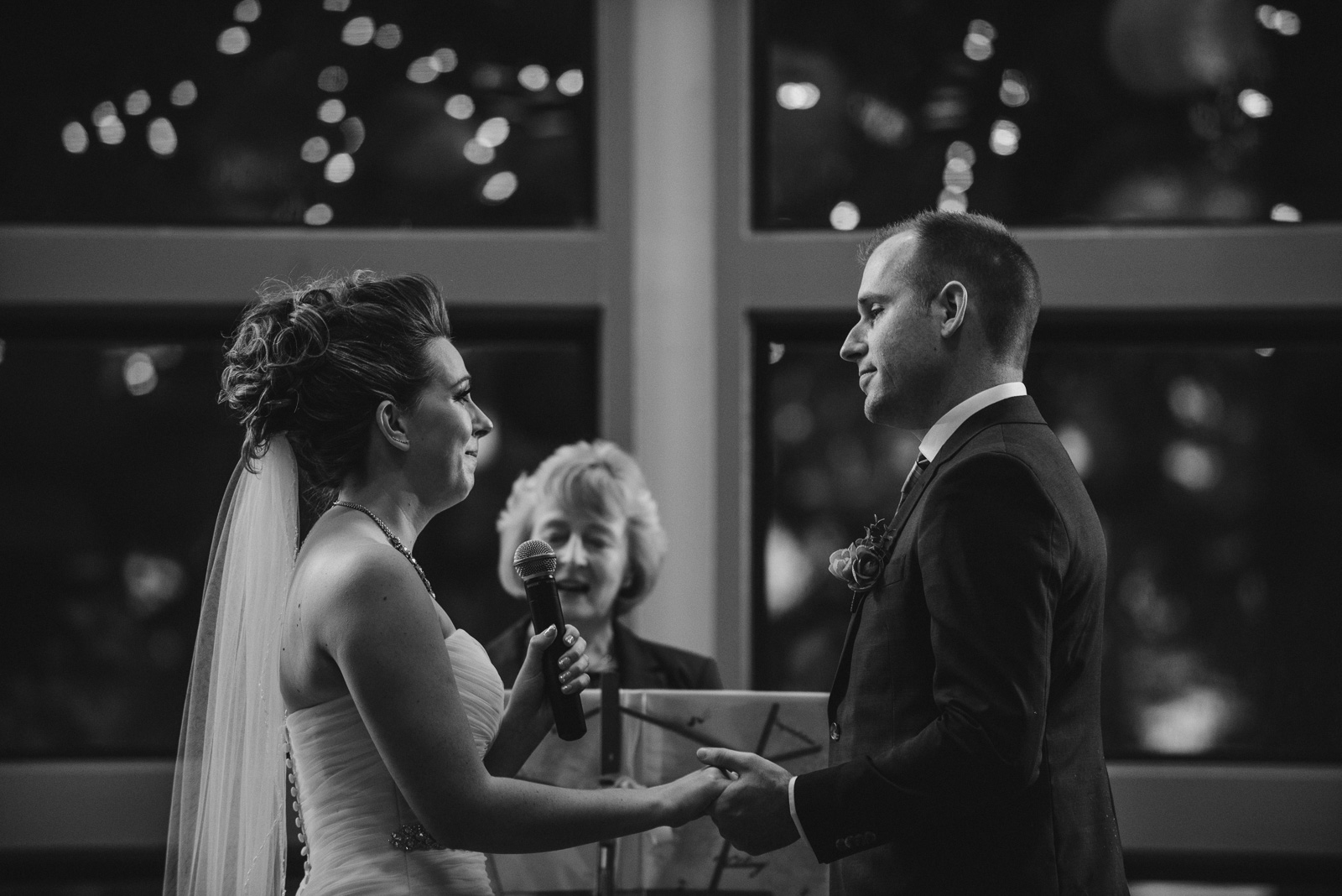 bride and groom at their wedding ceremony at Whonnock Lake Centre in Maple Ridge - Victoria Wedding Photographers