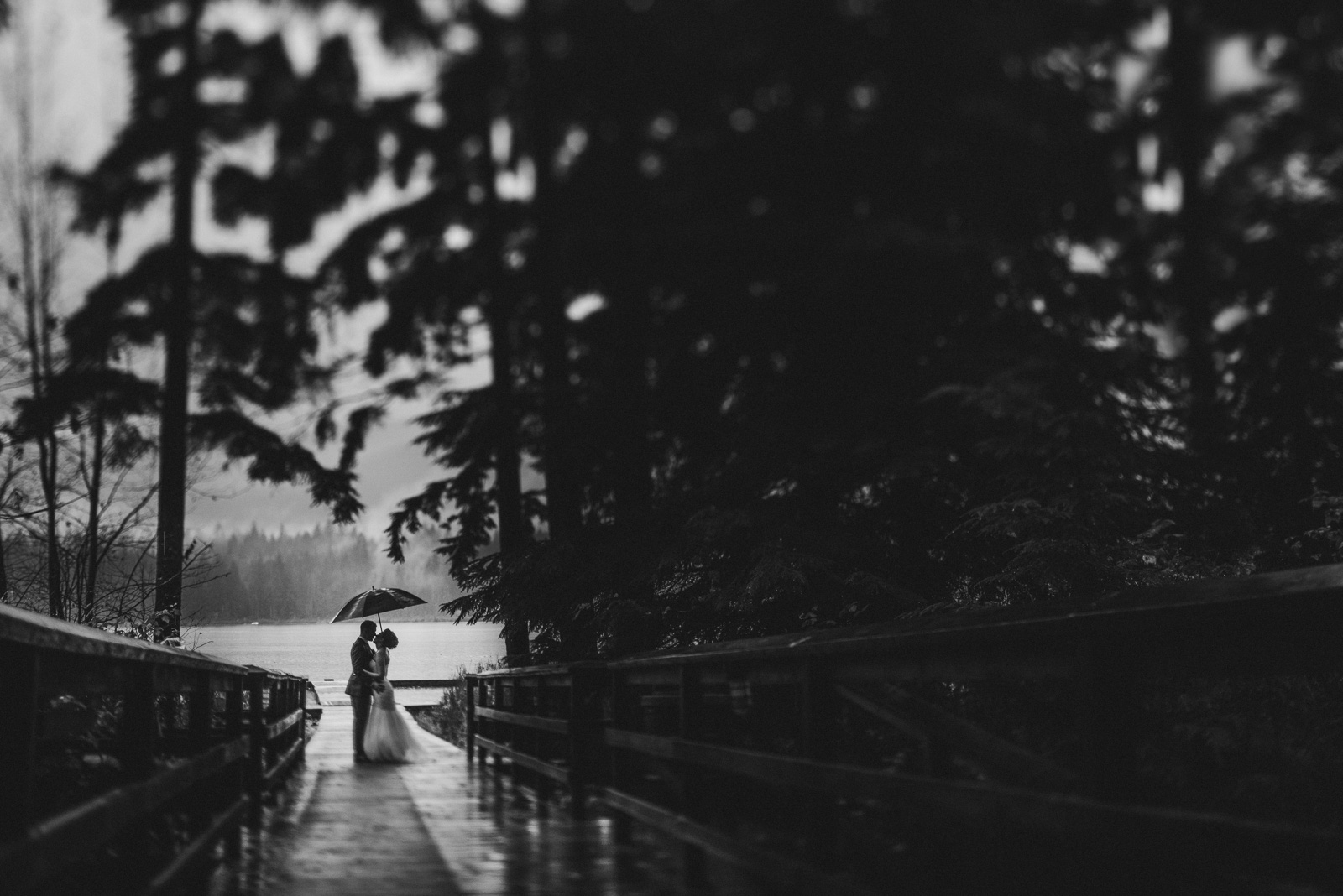 bride and groom standing on the dock in the rain at Whonnock Lake Centre in Maple Ridge - Victoria Wedding Photographers