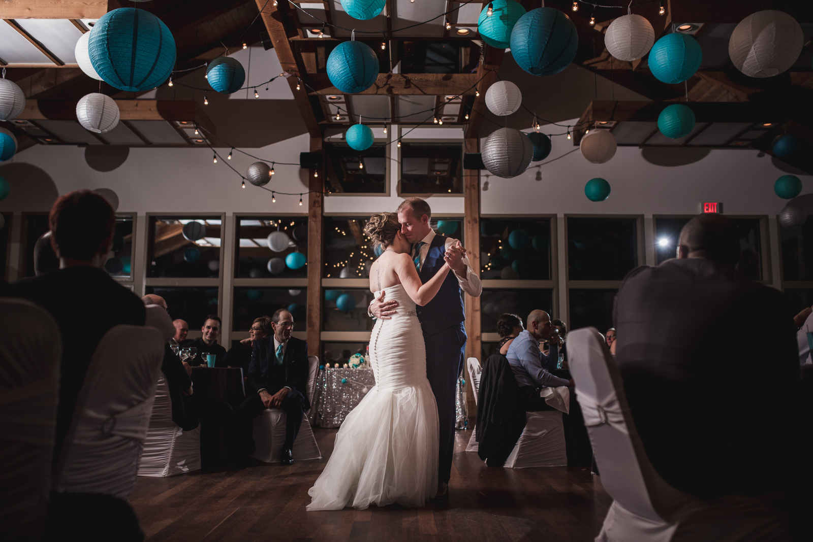 bride and groom first dance at their reception at Whonnock Lake Centre in Maple Ridge - Victoria Wedding Photographers