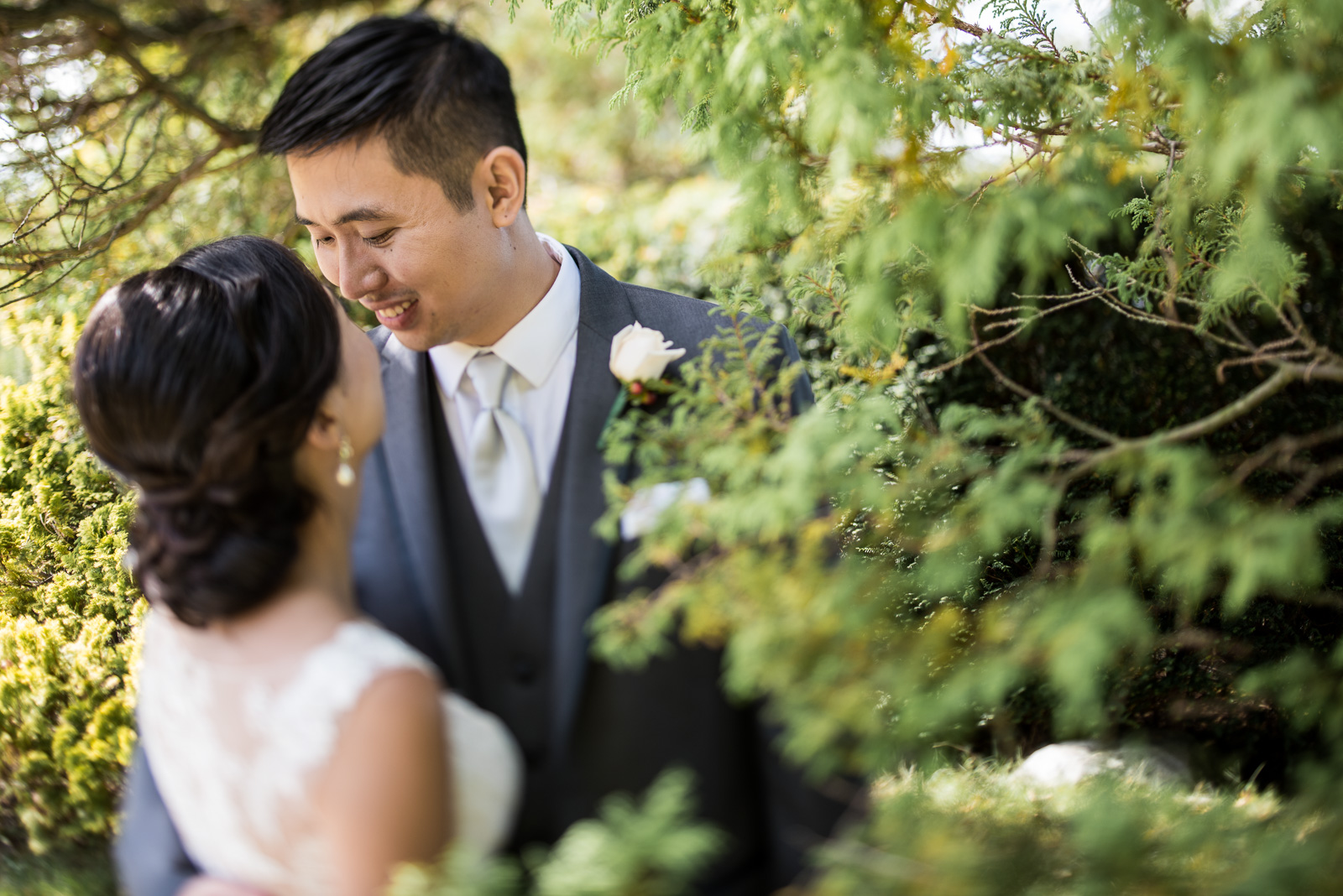 bride and groom portrait outdoors at cecil green park house on ubc campus in vancouver - victoria wedding photographers