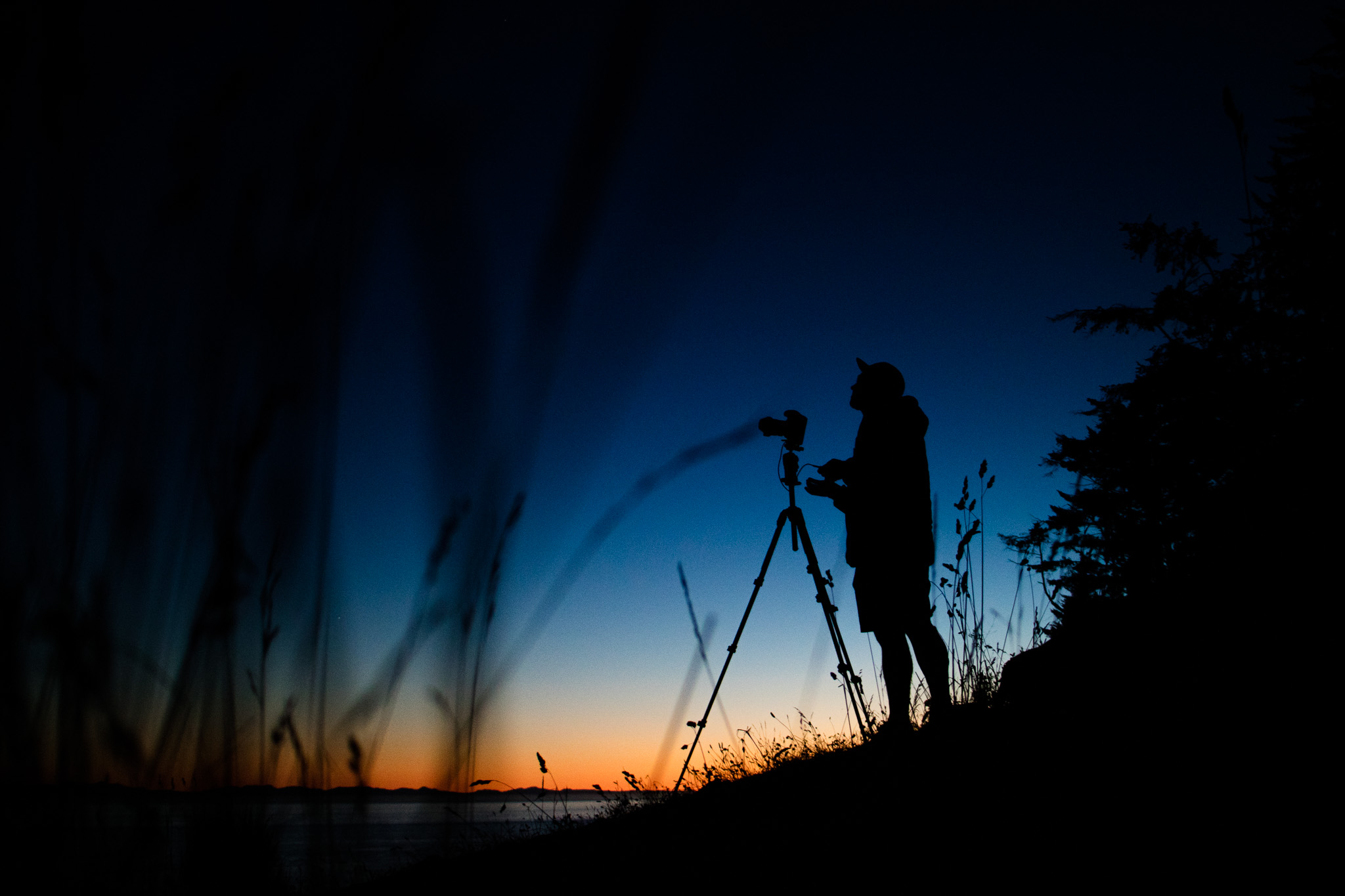 Following the trip to Oregon, we headed back to Sheringham Point for Larryn to shoot a timelapse of the night sky with the lighthouse. I captured this portrait of him shortly after sunset.