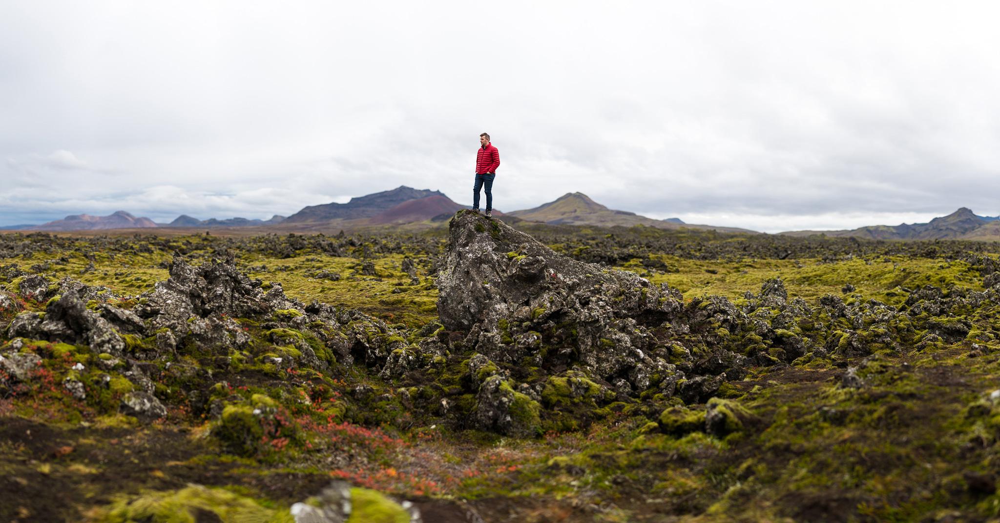 Matt perched over Berserkjahraun lava feild.