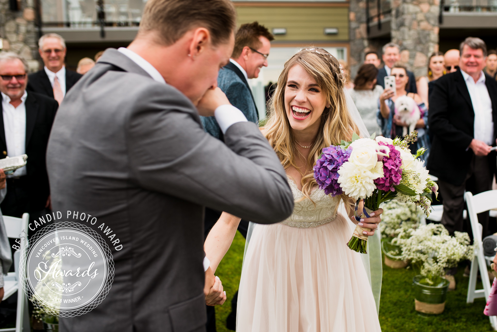 "2018 Winners of the ""Best Candid Photo""  award from the Vancouver Island Wedding Industry Awards"