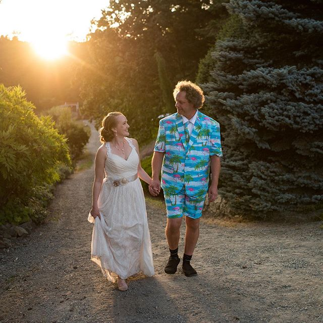 It isn't uncommon for brides to change into something more comfortable for the dance floor after all the traditional wedding things have taken place. Desmond was the first groom we've had to change into some wicked dance attire. We give him an A+ for style points.  How could we resist sneaking them away for some romantic sunset photos?
