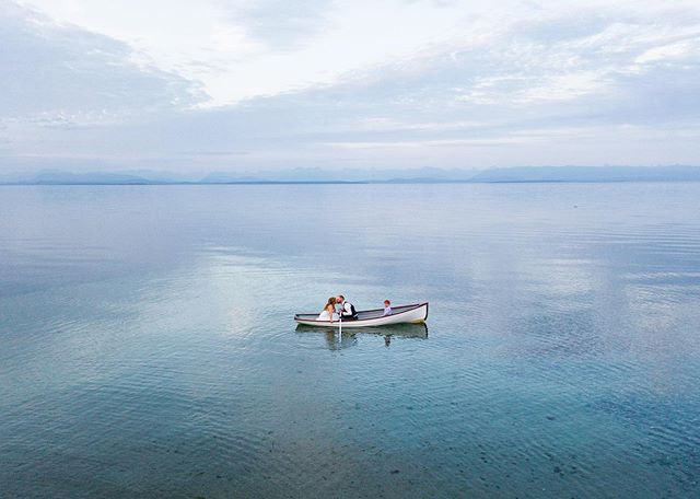 Where the sea meets the mountains meets the clouds. Endless blue at dusk.  Rebecca, Kent, and Kaleb out for a cruise in their family heirloom rowboat.