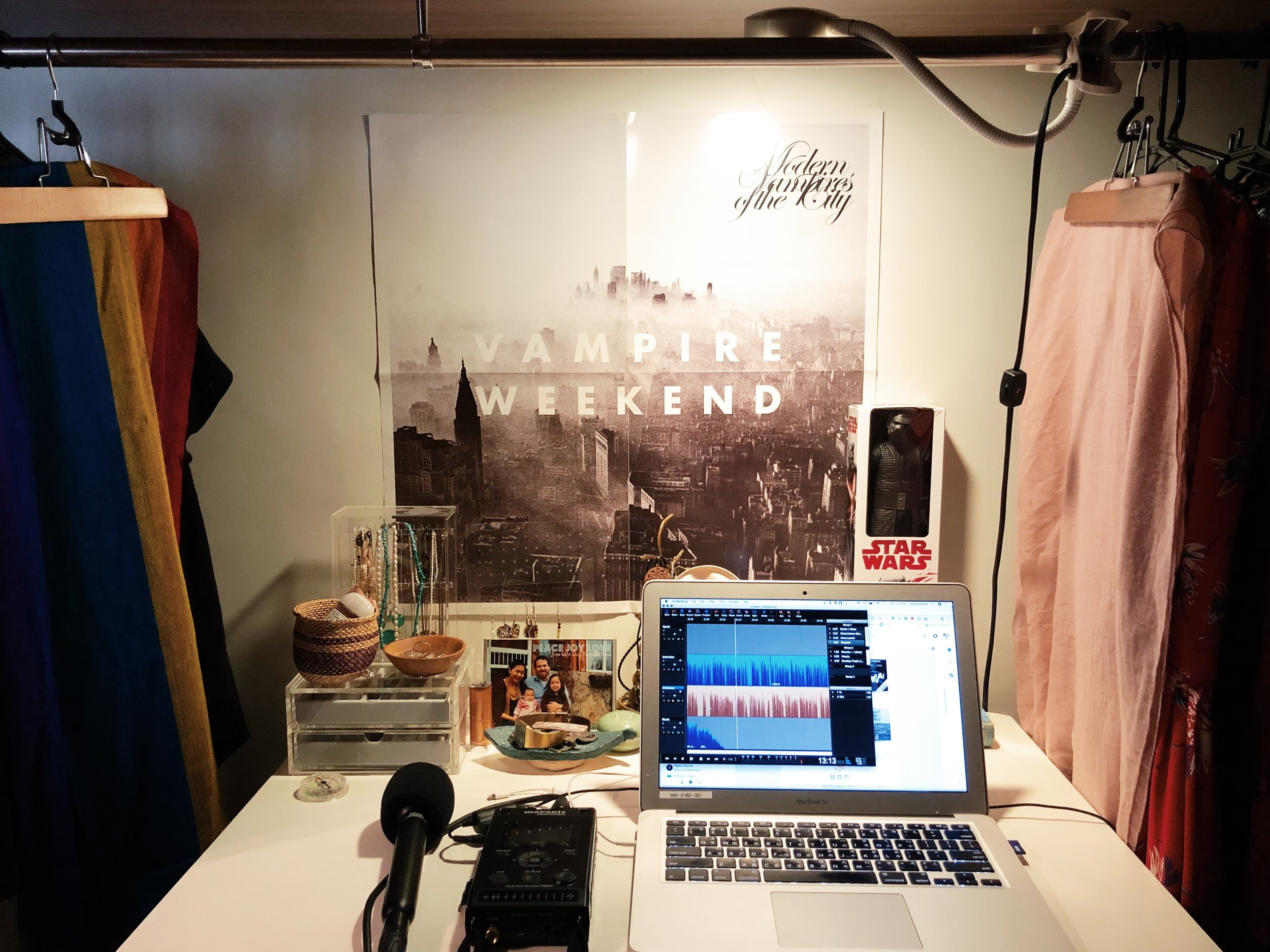 Like how I hung scarves on each side of my workspace so I don't have shirts and dresses in my face? Also: once again, Mom, Vampire Weekend is a band. :)
