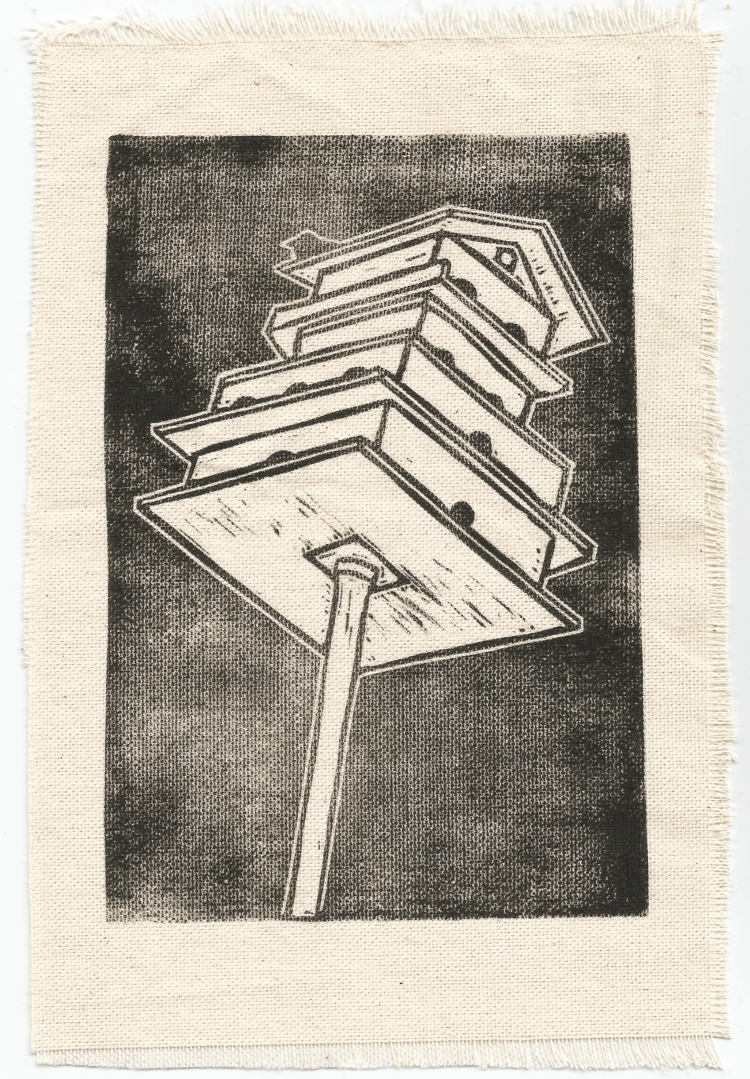 Bird Hotel  (2018), linocut on raw canvas, 5inx8in