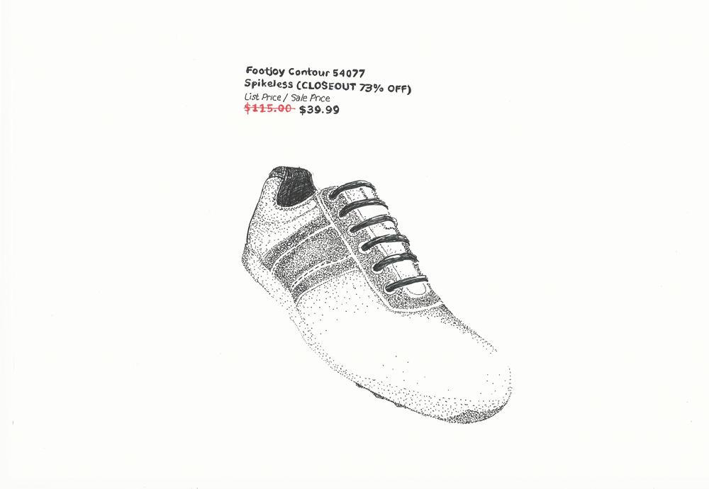 JACKIE SUMELL, KIJANA TASHIRI ASKARI/FOOTJOY CONTOUR SPIKELESS GOLF SHOE (ON SALE)/#H-54077 (DETAIL). TWO FRAMED WORKS ON PAPER. COURTESY THE ARTIST.