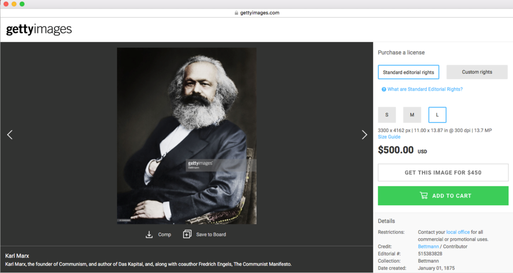 Screenshot taken from gettyimages.com with an image of Karl Marx created in 1875