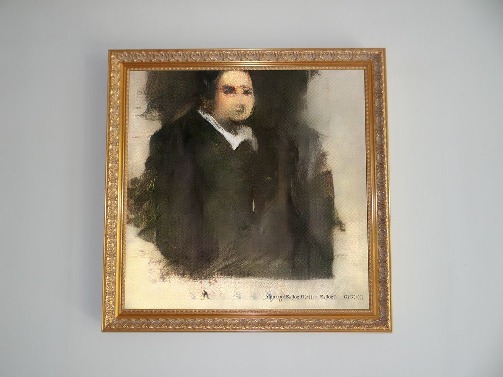 "Figure 1: ""Edmond de Belamy, from La Famille de Belamy"" (2018), Obvious."