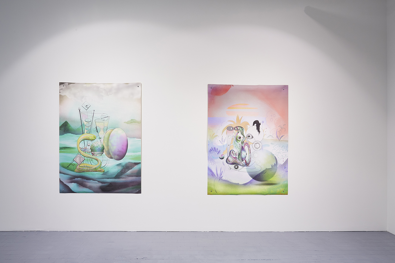 Installation view of the exhibition, 'Extra-Planetary Commitment', lítost gallery
