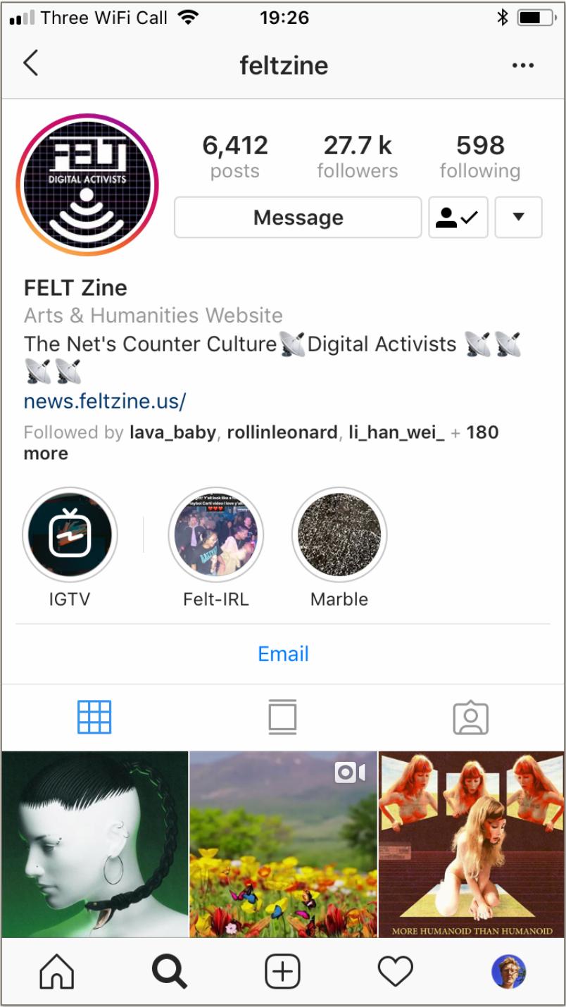 Figura 6   FELT Zine en  Instagram.