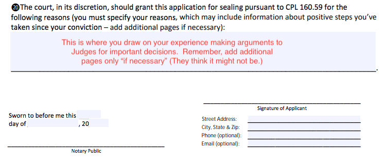 Here is a screen capture of part of the OCA conviction sealing motion form. My annotations are in red type.