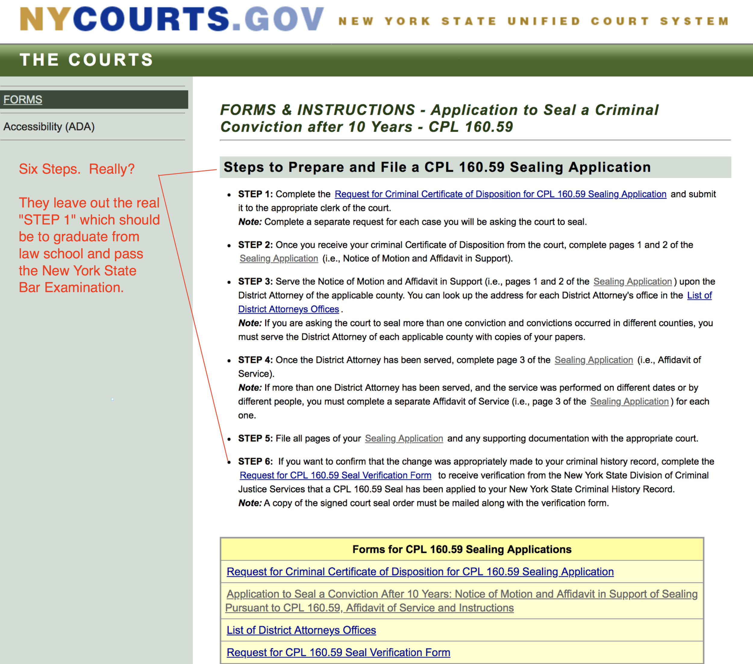 Here is a screen capture of the NY Courts website from September 30, 2018, where you can find instructions and forms needed to file a Do-it-Yourself conviction sealing motion. Red markup is mine.