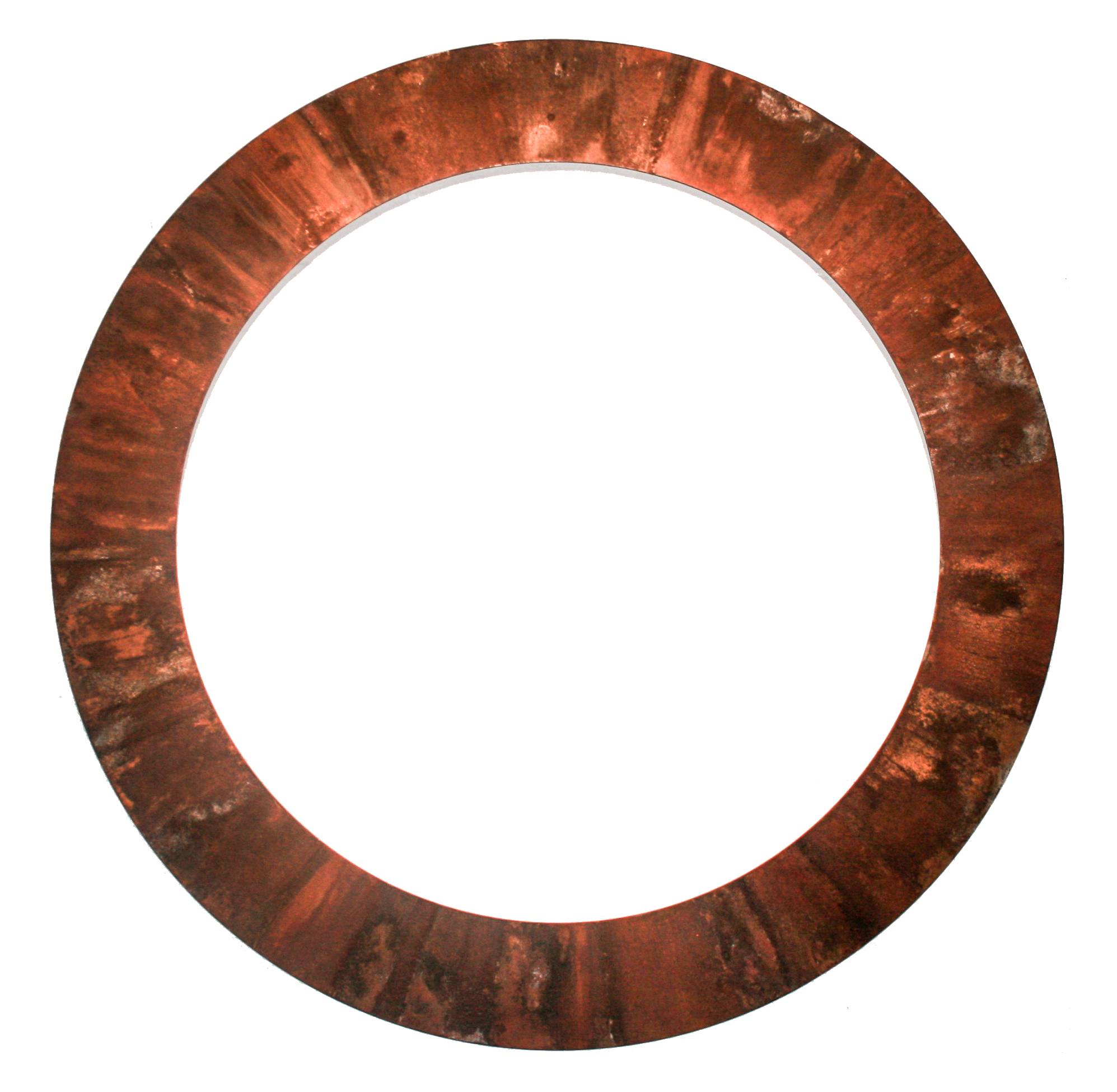 "Exhale,  2017 -    1 x Raised mounted 4'-0"" diameter, rusted steel ring."