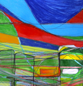 "Chroma-City , 2008 -  Pen, Ink, Coloured pencil on paper, 72"" x 24""."