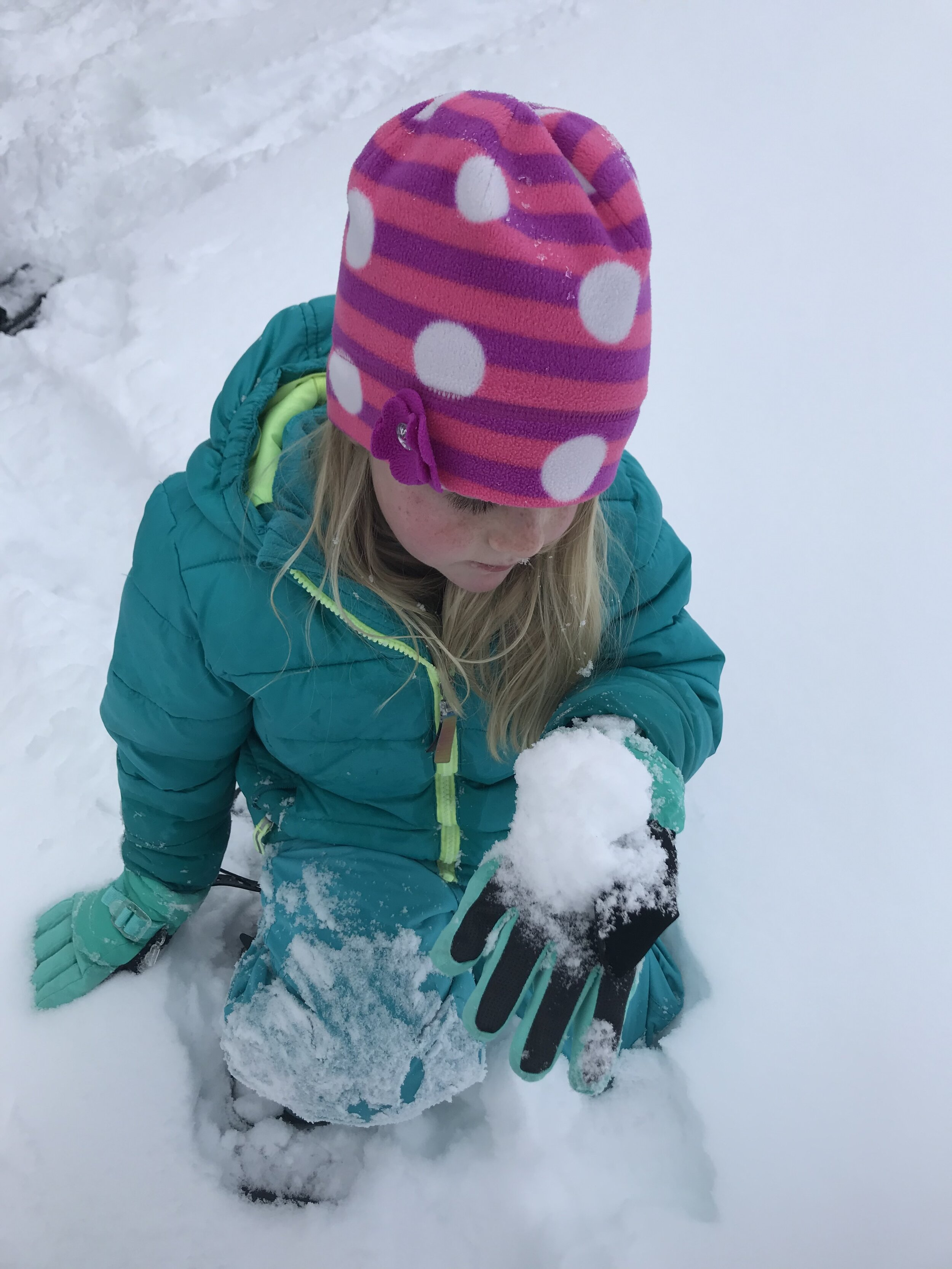 Child observes snow crystals in a hand full of snow.