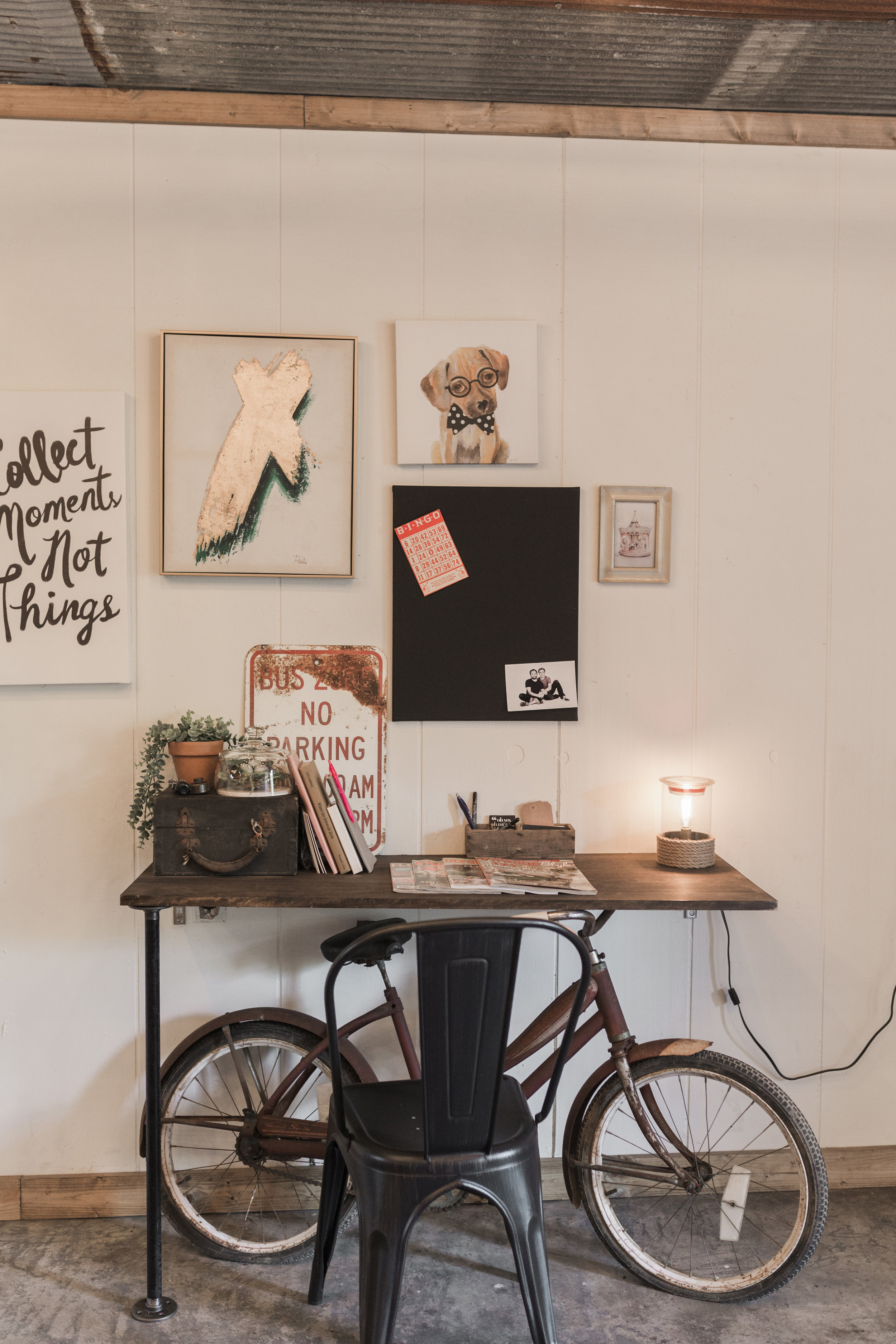 I knew I wanted to turn an old bicycle into a desk and this worked out perfect. The top just sits right on top of the handlebars and has the pipe leg for additional support.