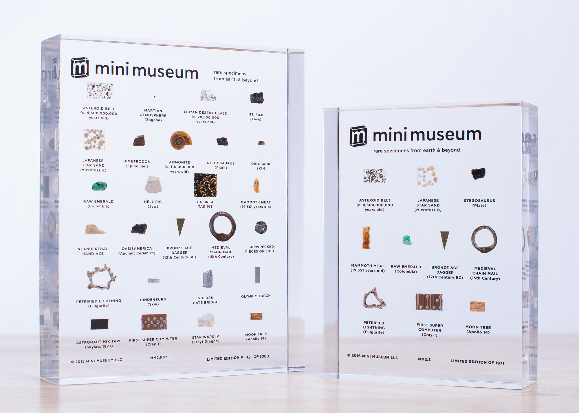 Mini Museum   The Mini Museum is a personal collection of rare and authentic specimens from across time and space. Since their first Kickstarter project in 2014, they have shared this journey with thousands of people all over the world. Items are sourced directly from the world's top auction houses and estates, notable scientists and personal expeditions. Mini Museums have items you will never find anywhere else such as crystallized fragments of the Martian Atmosphere (Studied by NASA scientists on Earth and validated directly by the Martian Rover Curiosity) and notable names like Buzz Aldrin, Steve Jobs, HRH Prince Charles and Princess Diana, Muhammad Ali, Winston Churchill.
