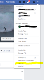 Click the top right drop down icon from the top right of the navigation and then click on Settings -