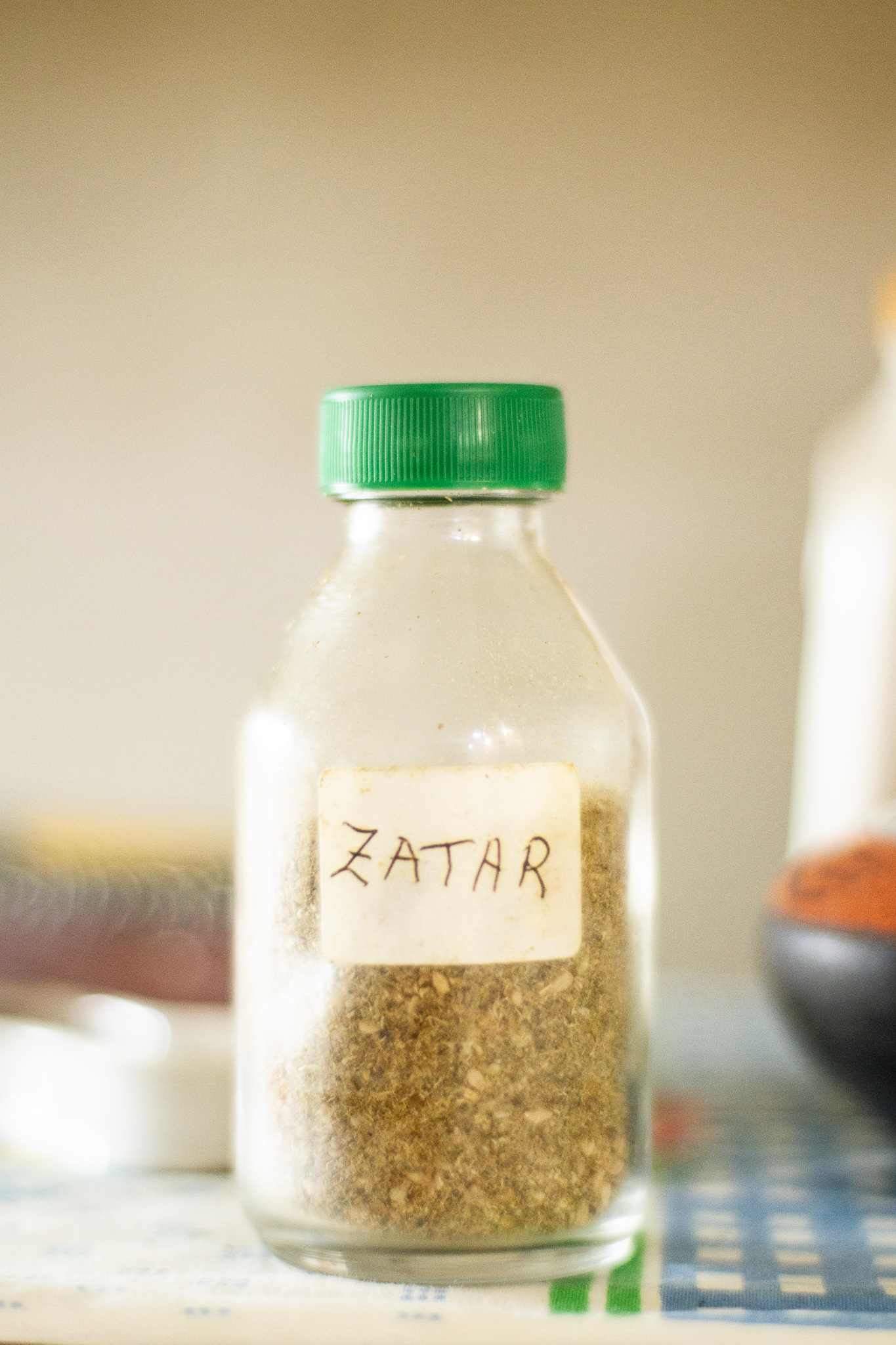 A bottle of za'atar in Aida's, a token of her trip to Lebanon.