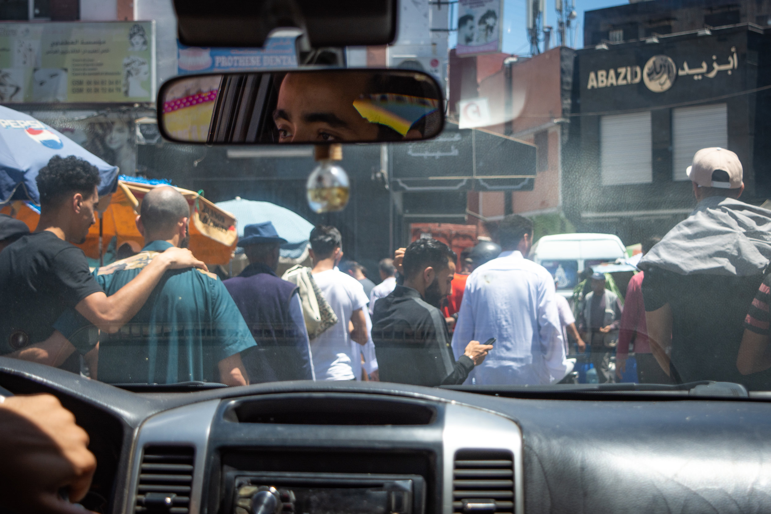 Drivers fight through afternoon traffic in the Habous quarter