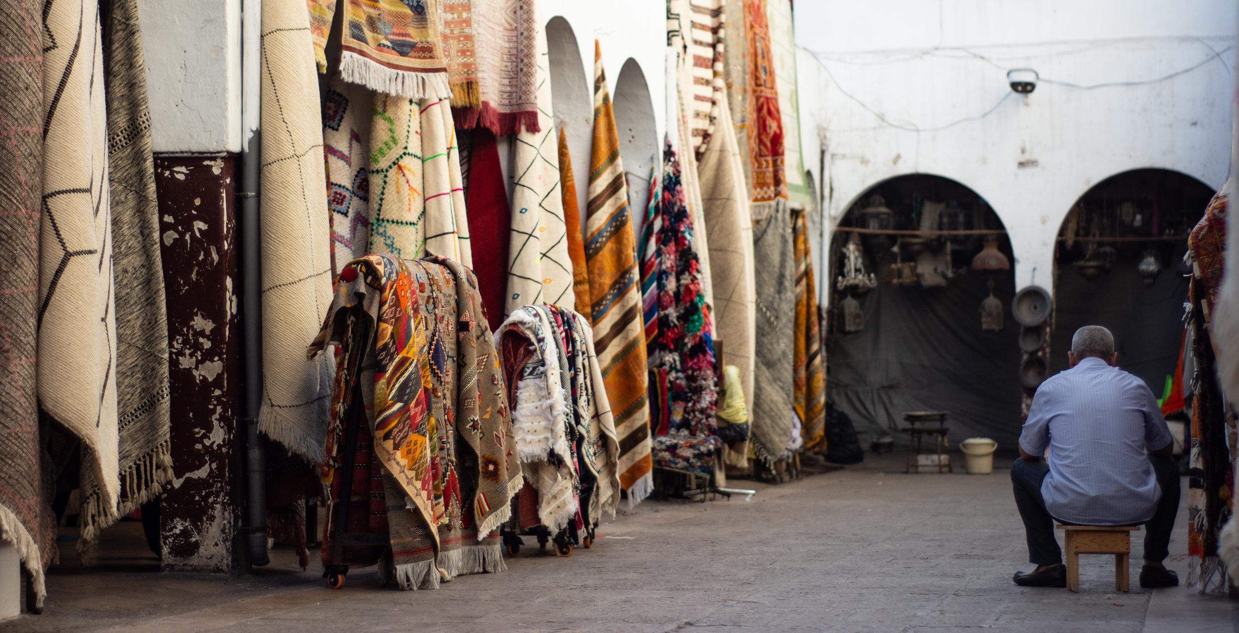 A traditional Berber rug shop