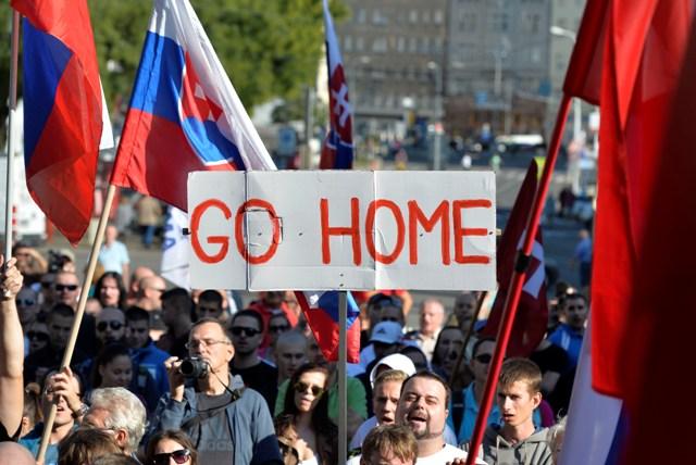 Anti-Immigrant march in Bratislava, Slovakia